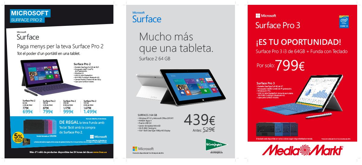 Diferentes piezas de comunicación en tienda para Surface, Surface 2 y Surface Pro 3. Fnac, El Corte Inglés y MediaMarkt.